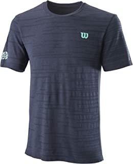 Wilson Homme T-Shirt, KAOS Rapide SMLS Crew, Polyester/Nylon, Bleu-Gris (Outer Space), Taille S, WRA788802SM