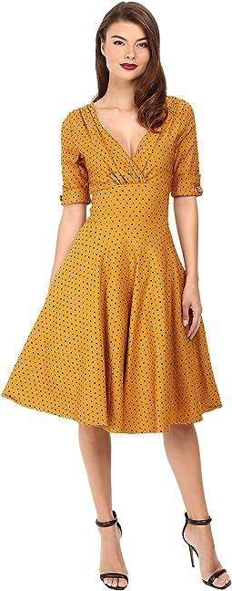 Unique Vintage - 3/4 Sleeve Delores Swing Dress