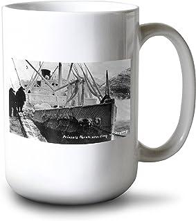 Skagway、アラスカ–プリンセスNorah出荷arriving 15oz Mug LANT-3P-15OZ-WHT-31508