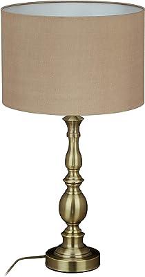 Relaxdays lampe de table, abat-jour, douille E27, salon et chambre a coucher, vintage, de chevet, HxD 57x30,5; doré 1 unité