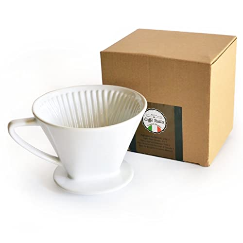 Caffé Italia Permanent Coffee Filter An Excellent Aromareicher Coffee Taste/Hand Coffee Filter Insert Ceramic Filter Size 4for 2to 4Cups–White–Premium Quality