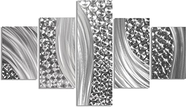 Abstract Metal Art Columnar Riverbed By Nate Halley Original Silver Decor Modern Wall Sculpture On Natural Aluminum