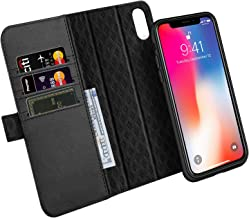 Zover Compatible with iPhone Xs/X Case Detachable Genuine Leather Wallet Case Support Wireless Charging Magnetic Car Mount Holder RFID Blocking Kickstand Feature Magnetic Closure Gift Box Black