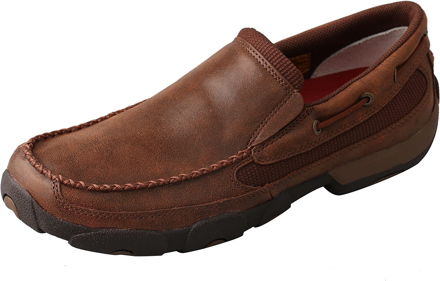 Twisted X Men's Leather Slip-On Rubber Sole Roune Toe Driving Moccasins - Brown