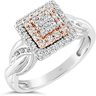Brilliant Expressions 10K Rose and White Gold 1/3 Cttw Conflict Free Diamond Square Halo Twisted Band Engagement Ring (I-J Color, I2-I3 Clarity)