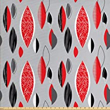 Ambesonne Mid Century Fabric by The Yard, Abstract Oval Leaf Forms with Different Designs..