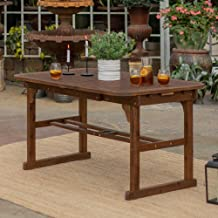 WE Furniture Solid Acacia Wood Patio Extendable Dining Table