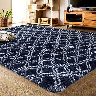 LOCHAS Luxury Velvet Shag Area Rug Mordern Indoor Plush Fluffy Rugs, Extra Soft and Comfy Carpet, Geometric Moroccan Rugs for Bedroom Living Room Girls Kids Nursery (5x8 Feet, Dark Blue/White, HS8)