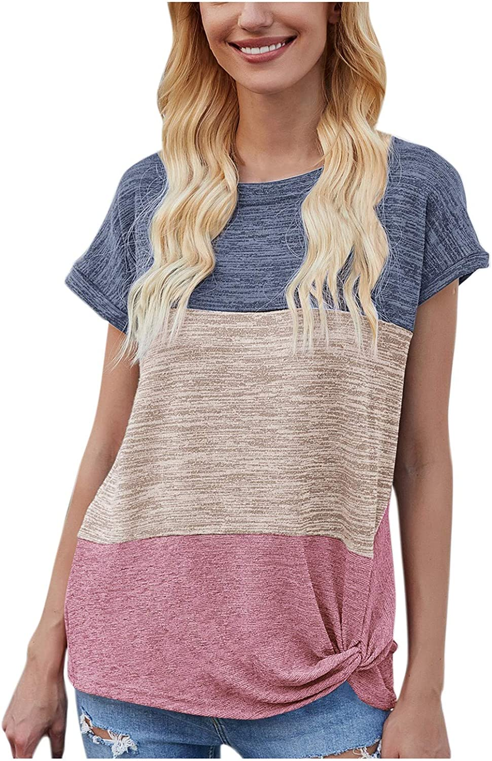 Aukbays Womens T-Shirts Summer Woman Tops Sexy,Women's Casual Kink Splicing Loose O-Neck Short Sleeve Top Basic Tee Tops