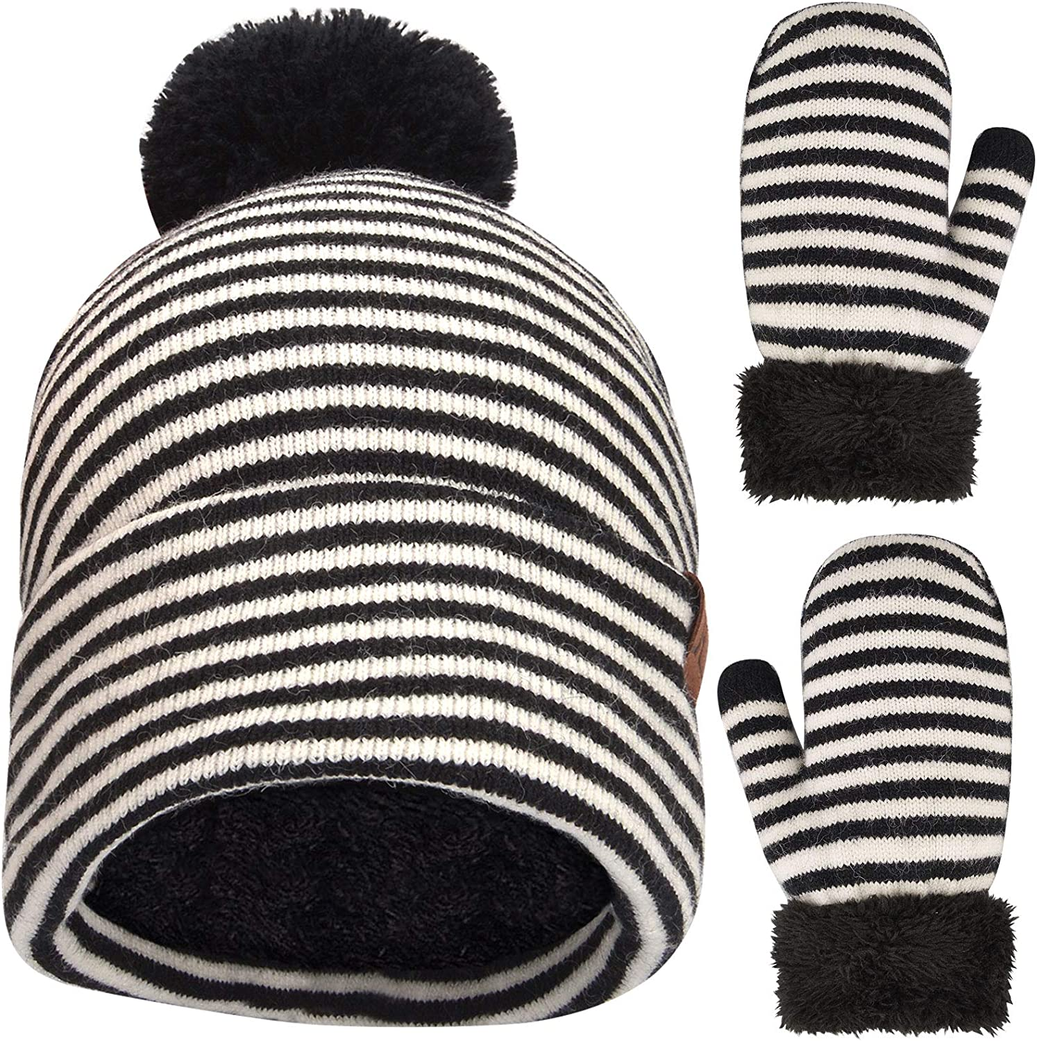 Winter Toddler Pom Beanie Hat and Mittens Gloves Set Warm Knit Fleece Lined for Boy Girl Kids Age 2-5