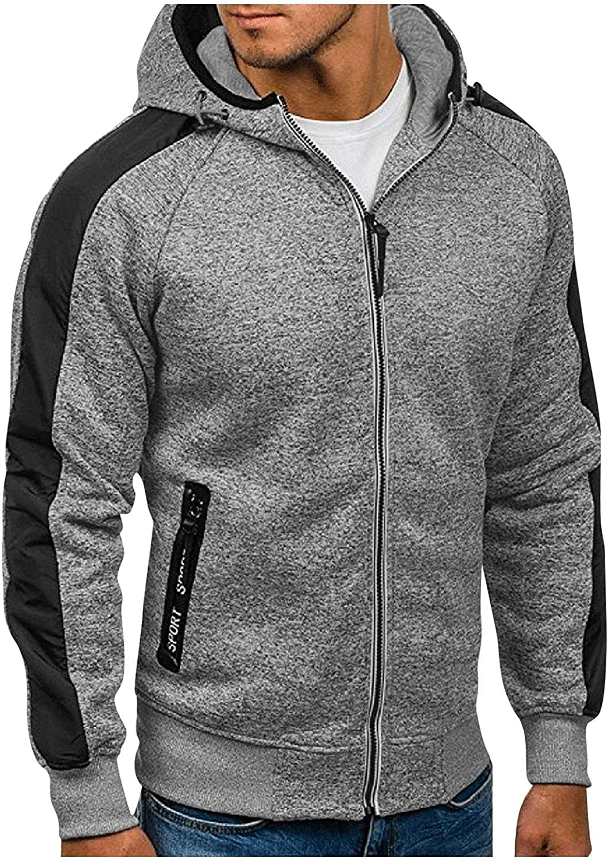 Hoodies for Men Mens Zipper Autumn Slim Casual Hooded Patchwork Long-sleeve Top Fashion Blouse Sweatshirts Hoodies