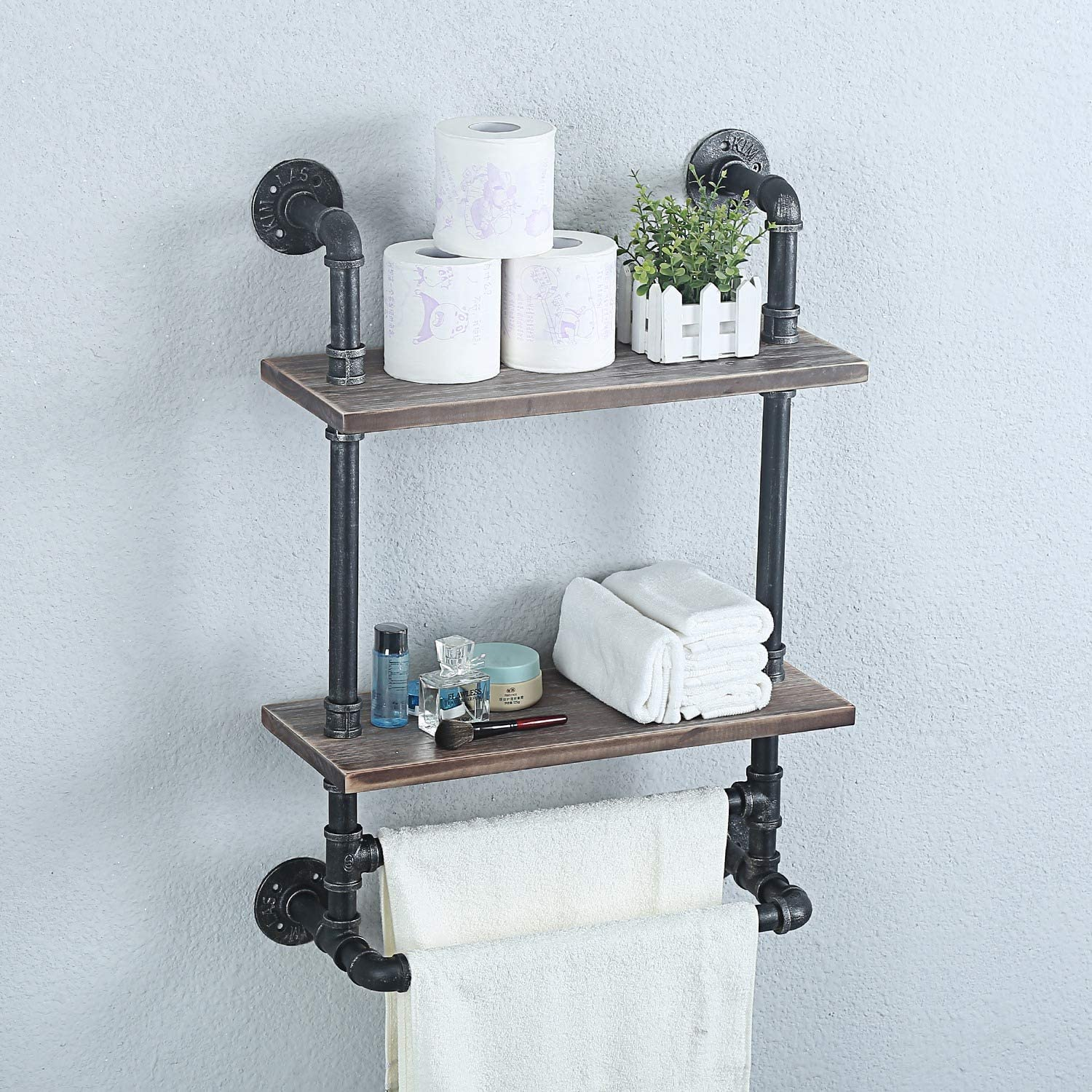 Weven Industrial Pipe Bathroom Shelves Wall Mounted,Metal Floating Shelves Towel Holder,Towel Rack With 2 Towel Bar Wall Shelf Over Toilet,19.7in Rustic Wall Decor Farmhouse