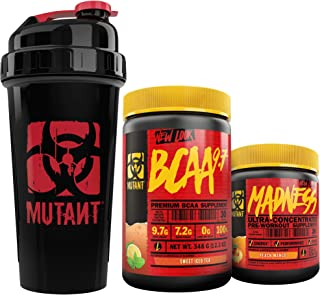 Mutant BCAA 9.7 + Madness + Shaker Cup Bundle - Keto Friendly, Vegan, Pre-Workout Energy Support with 800 ml Shaker Cup – 348 g and 225 g – Sweet Iced Tea and Peach Mango