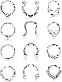 Milacolato 12PCS Acero Inoxidable Septum Piercing Anillos de Nariz Aro Tragus Retenedor de Cartílago Septum Clicker Ring B...