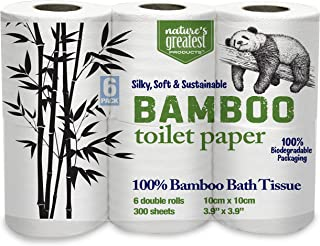 Nature's Greatest, 100% Bamboo & Sugarcane Toilet Paper, 2 Ply, 300 Sheets, 6 Rolls