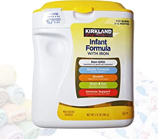 Kirkland Baby Formula with Iron, 2.13 Lb. Plus Free Bonus 1 Pack of Disposable Baby Bibs and 2 Baby Washcloths.