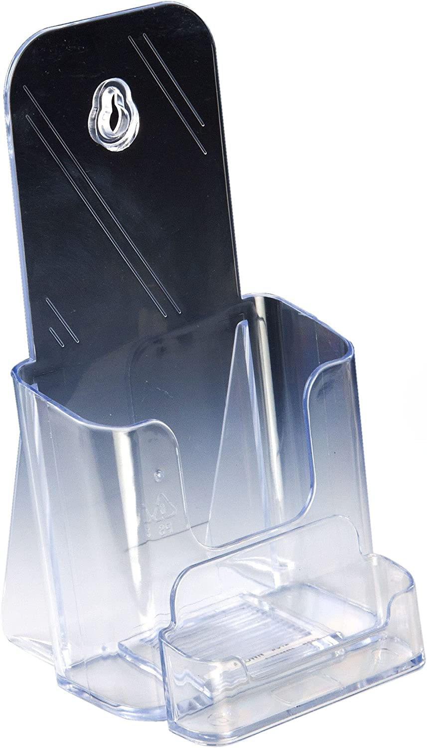 Displays2go Set of 60 Brochure Holder Classic Molded Dedication Injection Clear P