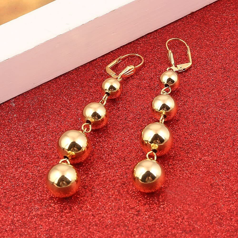 PHUONGDTB8888 Big Shiny Gold Color Round Ball Jewelry Statement Ball Earrings