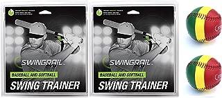 SWINGRAIL 2 Swing Trainers and 2 Stoplight Throwing Mechanics Training Balls