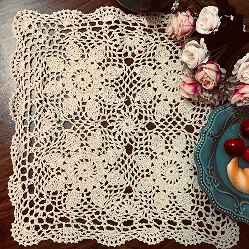 Damanni Square Cotton Handmade Crochet Lace Tablecloth Doilies Table Overlay Beige 15 Inch 2 PC