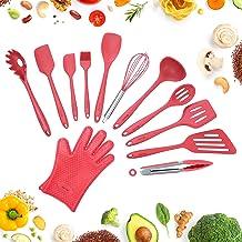 Köksredskap 12 Delar i Silikon för Matlagning och Bakning - Röd