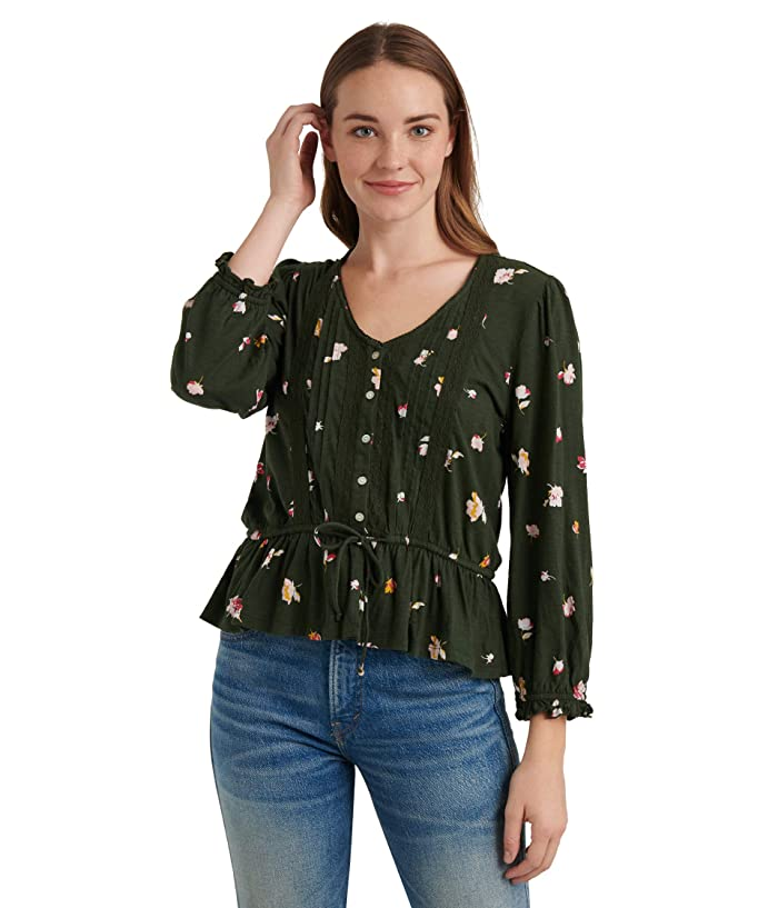 Lucky Brand  3/4 Sleeve V-Neck Button-Up Printed Tie Waist Top (Olive Multi) Womens Clothing