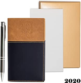 2020 Weekly Pocket Calendar Organizer   Business Polished Chrome Trim Pen & a Notepad Included   12 Months Week-in-View Planner, Weekly Quotes   All in a Gold Gift Box Set.
