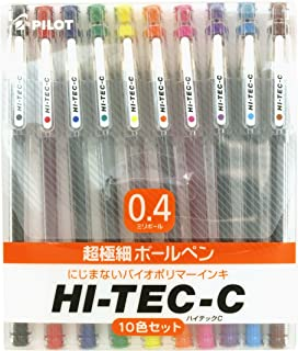 Pilot Hi-tec-c Gel Ink Pen - 0.4 Mm - Basic Colors - 10 Pen Gift Set