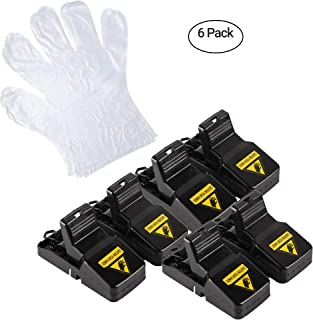 U-Click Plaza Mouse Trap -Mice Rats Traps, Powerful Snap with Bait Cup, Durable Reusable Safe (6 Pack) with Bonus 6 Disposable Clear Plastic Gloves Mess Free, Mouse Traps That Work