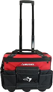 Husky 18 Inch 600-Denier Red Water Resistant Contractor's Rolling Tool Tote Bag w/ Telescoping Handle