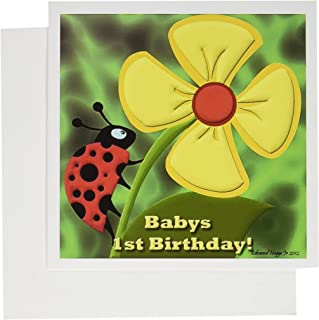 3dRose Ladybug Babys 1st Birthday - Greeting Cards, 6 x 6 inches, set of 6 (gc_58856_1)