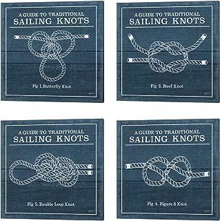 Vintage Sailing Knots by Mary Urban, 4 Piece Canvas Art Set, 14 X 14 Inches Each, Nautical Art