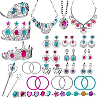 WATINC 46Pack Princess Pretend Jewelry Toy,Girl's Jewelry Dress Up Play Set,Included Crowns, Necklaces,Wands, Rings,Earrings and Bracelets,46 Pack