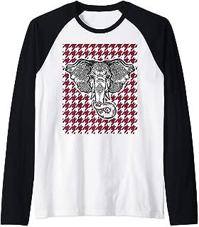 Houndstooth Alabama Crimson and White with Elephant Football Raglan Baseball Tee