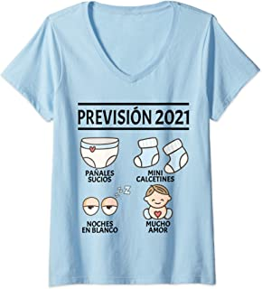 Regalos Originales para Padres Primerizos Embarazo, Mujer Prévision 2021 Papá Mamá Anuncio Embarazada Divertido Bebé Camiseta Cuello V