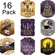Nuanchu 16 Pieces Halloween Wine Bottle Labels Party Decoration Luxury Wine Labels Accessories Stickers with Foil