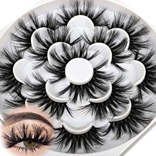 25mm Dramatic Mink Eyelashes 3D Fluffy Dramatic Long Lashes Full High Volume Crossed Fake Lashes Pack Soft Reusable 7 Pair...