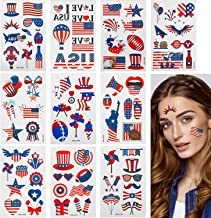 30 Patriotic Temporary Tattoos, American Flag Red White and Blue Fake Tattoos, Independence Day Tattoo Stickers 4th of Jul...