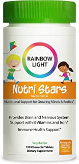 Rainbow Light Nutri Stars Multivitamins for Kids Provides Brain and Nervous System Support with B Vitamins and Iron*, Pine...
