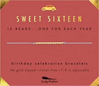 Sweet 16 Gifts for Girls; 16th Birthday Bracelet Gift Idea for 16 Year Old Girls with 14K Gold Dipped Beads on Adjustable Cord
