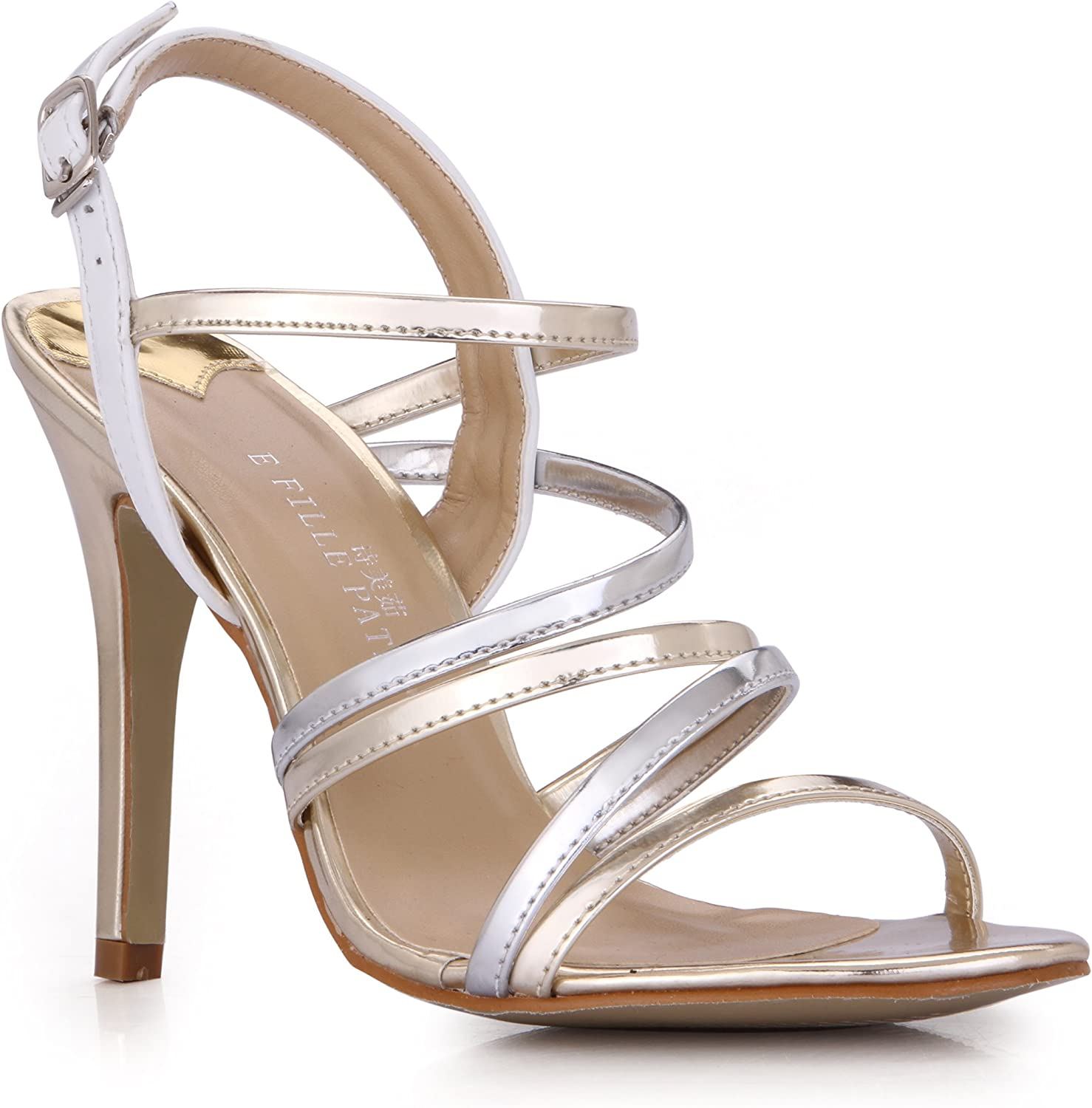 DolphinGirl Women's Silver Ankle Strap High Heels Sandals Court shoes SM00294