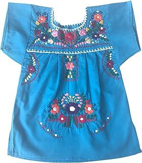 Vestito estivo per ragazza - vestito per bambina 1 anno - vestito di fiori ricamati - vestito messicano - vestito blu dell...