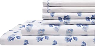 Elite Home Products Spring Meadow Microfiber Print Embroidered Bed Sheet Set, King, Blue