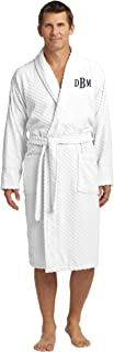 Personalized Checkered Terry Robe with Embroidered Name, White