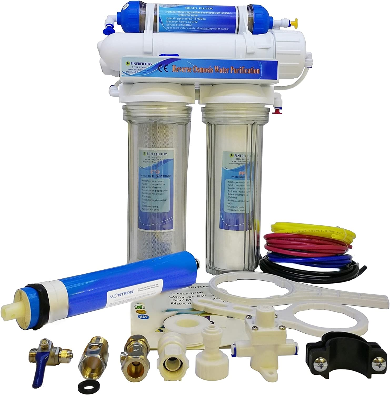 Finerfilters 4 Stage Aquatic Reverse Osmosis Unit 50GPD With DI Chamber