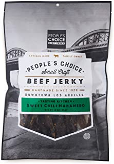 People`s Choice Beef Jerky - Tasting Kitchen Small Batch - Sweet Chili Habanero - Camping Food, Backpacking Snacks, Road Trip Snacks - High Protein Low Sodium Healthy Snacks - 1 Pound, 16 oz - 1 Bag
