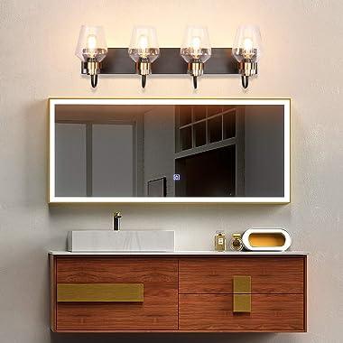 PRESDE Bathroom Vanity Lighting Fixtures Over Mirror Modern Glass Shade Bronze Brushed Black (4-Lights)