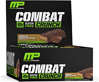 MusclePharm Combat Crunch Protein Bar, 20g Protein, Chocolate Peanut Butter Cup Bars, 12 Count