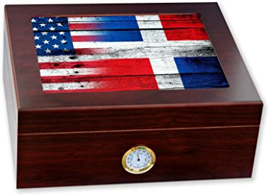 ExpressItBest Premium Desktop Humidor - Glass Top - Flag of Dominican Republic - Wood with USA Flag - Cedar Lined with humidifier & Front Mounted Hygrometer.