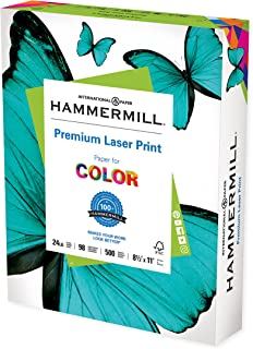 Hammermill Printer Paper, Premium Laser Print 24 lb, 8.5 x 11-1 Ream (500 Sheets) - 98 Bright, Made in the USA, 104604C